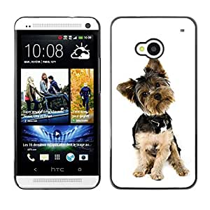 PC/Aluminum Funda Carcasa protectora para HTC One M7 Yorkshire Terrier White Small Dog Puppy / JUSTGO PHONE PROTECTOR