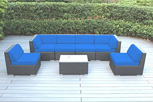 Ohana 7-Piece Outdoor Patio Furniture Sectional Conversation Set, Black Wicker with Blue Cushions - No Assembly with Free Patio Cover