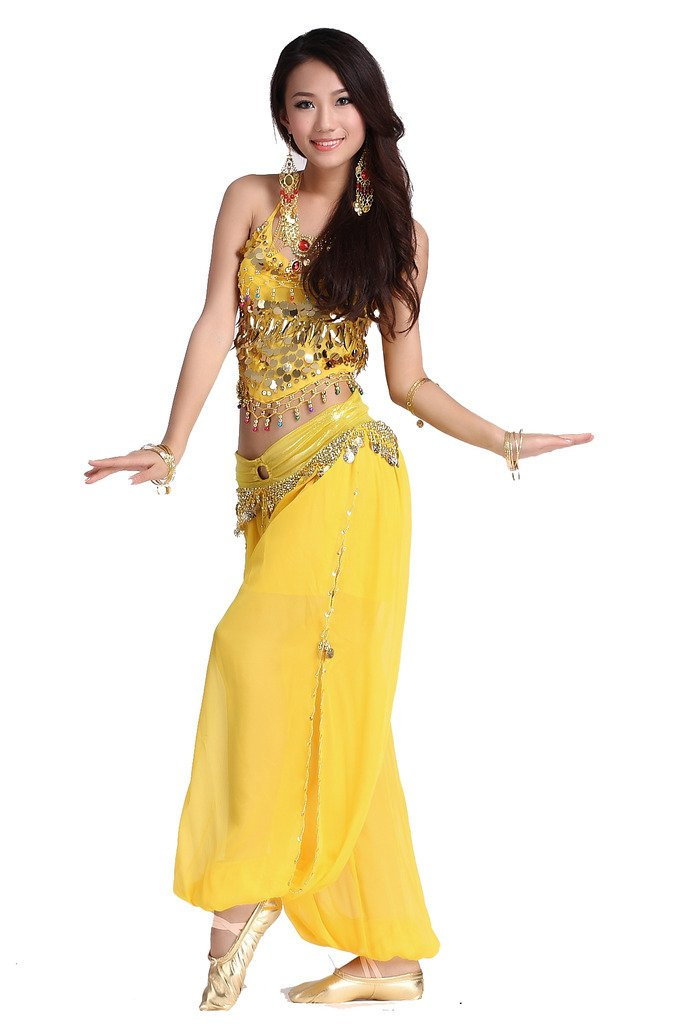 ZLTdream Ladys Belly Dance Chiffon Banadge Top and Lantern Coins Pants Yellow, One size by ZLTdream