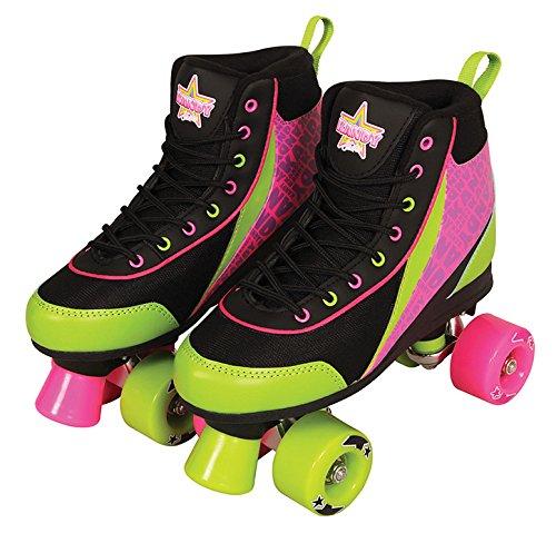 Kandy Skates Delish Black, Lime Green, & Pink Roller Skates - Size 1