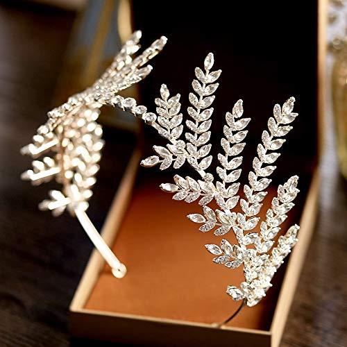 Olive Branch Luxury White Crystal Wedding Headband Crown Tiara Diadem Headband Princess Crown Wholesale Hair Accessories ()