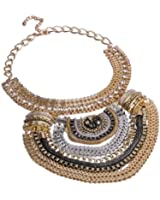 Fashion Multi Gold Tone Grey Black Chains White Crystal Statement Bib Necklace