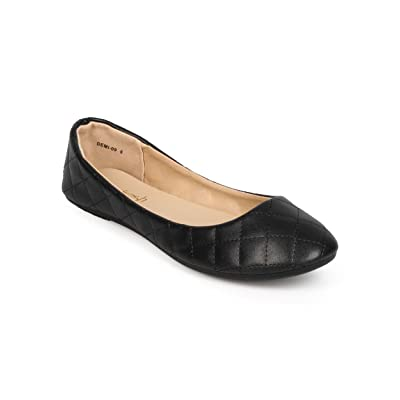 REFRESH Women Quilted Leatherette Round Toe Slip On Ballet Flat EE11 | Flats