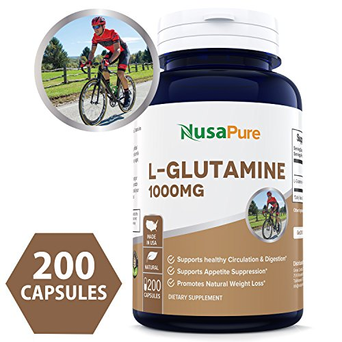 Best L-Glutamine 1000mg 200 Capsules (NON-GMO & Gluten Free) Maximum Strength - Supports Muscle Mass & Recovery, Gastrointestinal Tract & Immune Function ★100% MONEY BACK GUARANTEE★