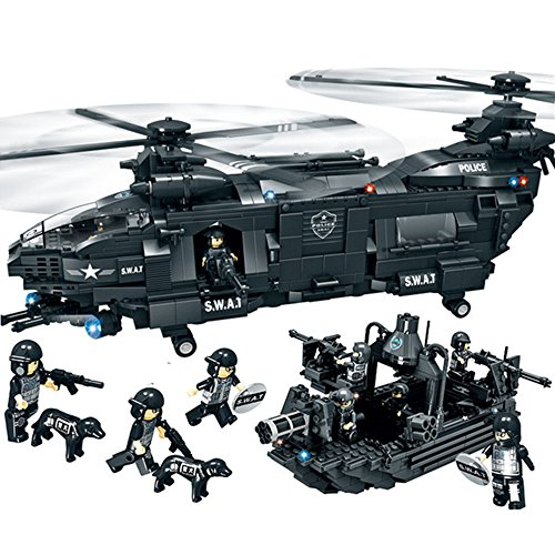 WOMA Police Swat Team Military Helicopter and Boat Model Building Sets Interlocking Bricks Toys LEGO Compatible with Storage Box - Set Military