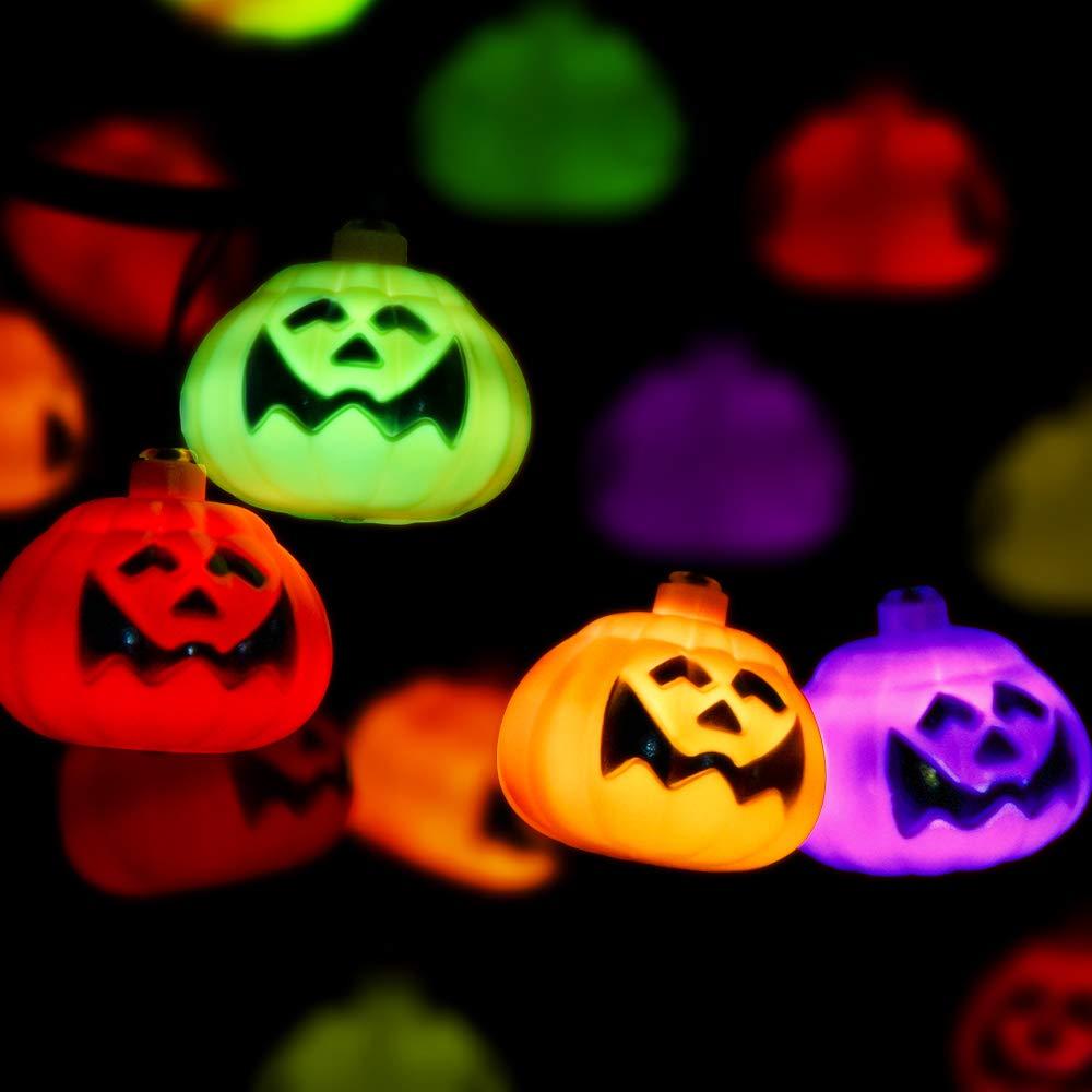 Halloween Pumpkin String Light – Multicolor Pumpkin Lights 20 LED Fairy Lights 8 Modes Battery Operated String Light w/ Remote Timer 17.4 Ft Waterproof Light for Halloween Parties Outdoor & Indoor.