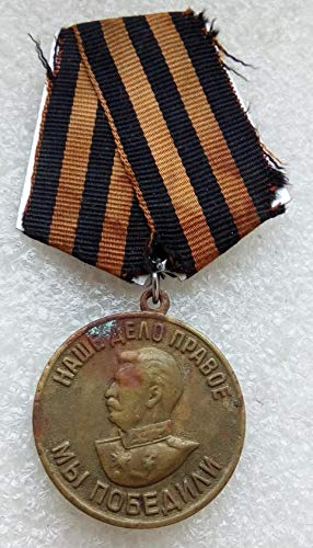 #8 We Won For the Victory over Germany WW II Original USSR Soviet Union Russian military Communist Bolshevik Medal St. George Ribbon