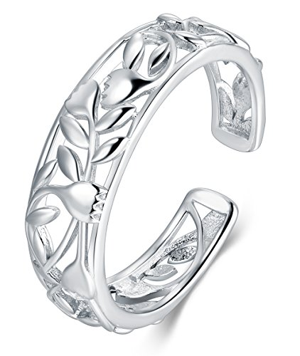 (BORUO 925 Sterting Silver Toe Ring, Rose Flower Design Adjustable Band Ring)