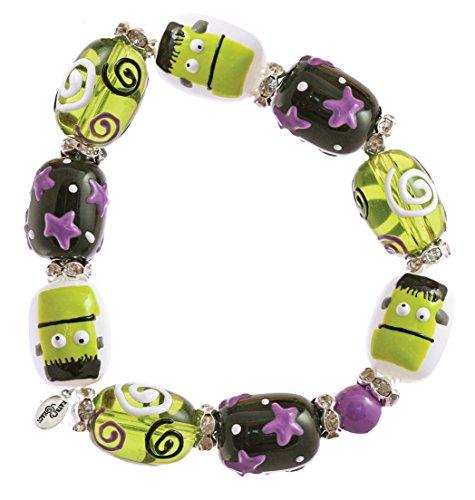 Clementine Design Kate & Macy Make Mine Frankenstein Bracelet Painted Glass Beads - Craft Mine Glasses