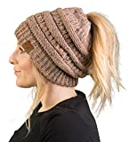 Funky Junque BeanieTail Womens Ponytail Knit Beanie Hat - Taupe (Small Image)