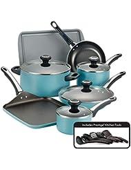 Farberware 21926 High Performance Nonstick Cookware Pots and Pans Set Dishwasher Safe, 17 Piece, Aqua