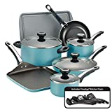 Farberware 21926 High Performance Nonstick Cookware Pots and Pans Set Dishwasher Safe, 17 Piece, Aqua