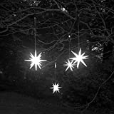 Single Frosted Starburst Outdoor Lighted Ornament - Size 8 inches - Bright White LED with Timer