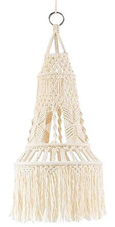 the best attitude 60633 00b01 Mkono Macrame LampShade Ceiling Pendant Light Shade Tasseled Chandelier  Boho Wedding Hanging Handwoven Home Decoration