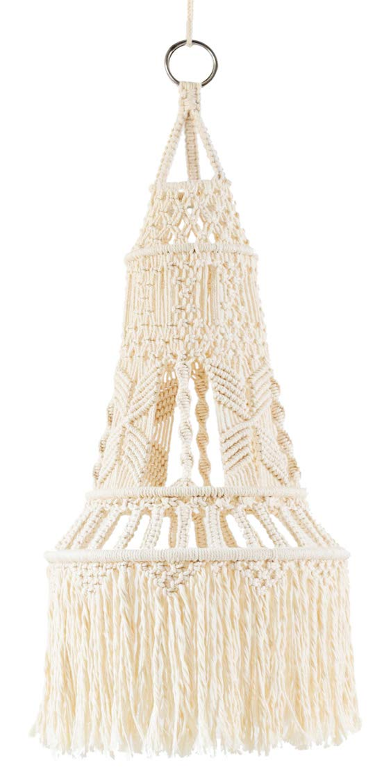 Mkono Ceiling Pendant Light Shade Macrame Hanging Lantern for Living Room Bedroom Nursery Decorative Lighting by Mkono