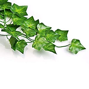 QC Life 84 FT Artificial Ivy Fake Greenery Leaf Garland Plants Vine Foliage Flowers Hanging for Wedding Party Garden Home Kitchen Office Wall Decoration(12 Pack) 2