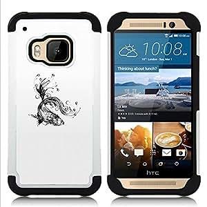 """HTC One M9 /M9s / One Hima - 3 en 1 impreso colorido de Altas Prestaciones PC Funda chaqueta Negro cubierta gel silicona suave (Agua Salpica Negro blanco del arte"""")"""