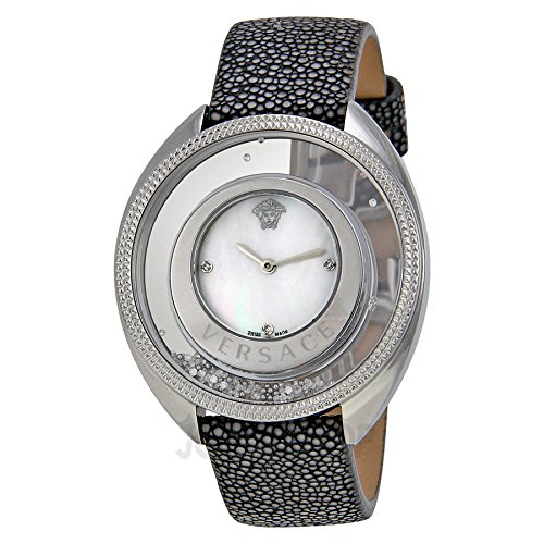 Versace Women's Floating Spheres in Glass Bezel Mother-Of-Pearl Dial Galuchat Leather Watch 86Q991MD497 S112