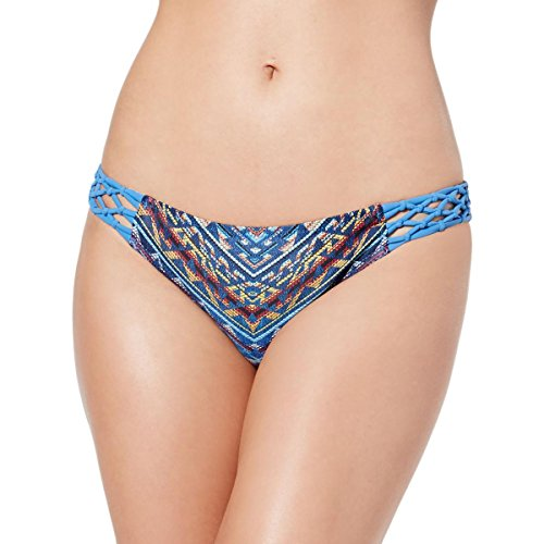 Jessica Simpson Women's Dusty Road Denim-Inspired Side Braided Hipster Bikini Bottom, Peri Multi, L - Jessica Simpson Braid