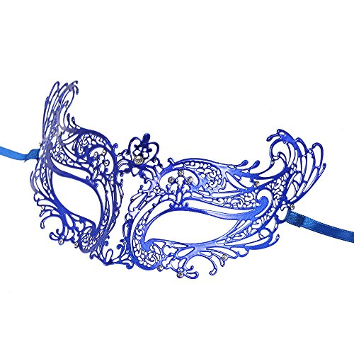 FEST NIGHT Cosplay Blue Metal Half Mask with Rhinestones Masquerade Ball Halloween Cosplay Mask Fancy (Sparty Costume Halloween)