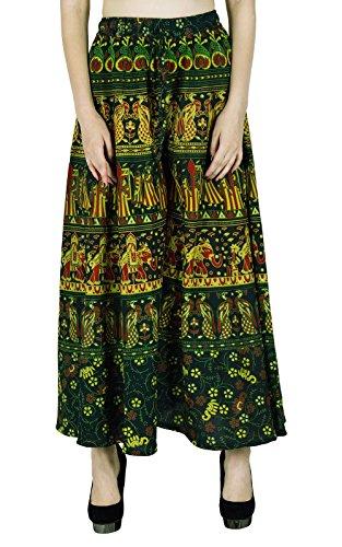 Harem Yoga Aladdin Pantalones Casual Hippie Pantalones holgados de las mujeres de la India de algodón Plazzo Verde y amarillo