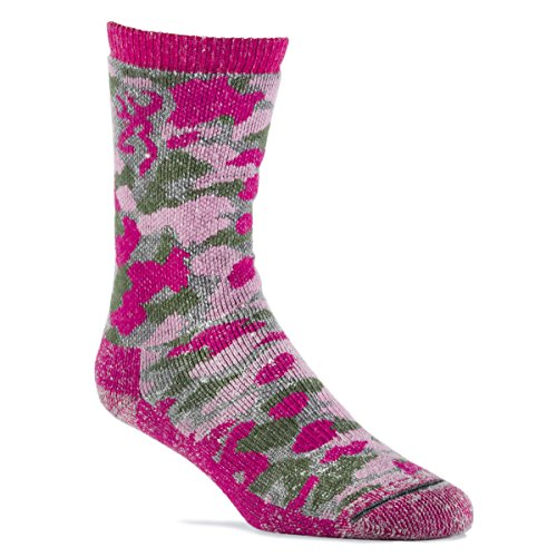 Browning-Womens-Wool-Blend-Pink-Camo-Crew-Socks-Single-Pair