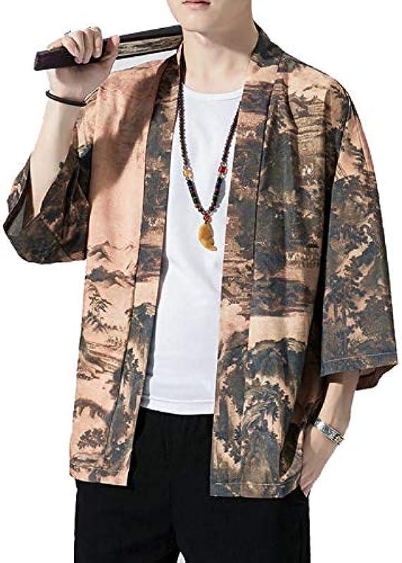 Haori Męskie-Kimono-Cardigan, japanischer Stil, Yukata, sieben Ärmel, offener Vordermantel, normale Passform, D-L: Küche & Haushalt