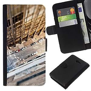 KLONGSHOP // Tirón de la caja Cartera de cuero con ranuras para tarjetas - Tilt Shift Calle Edificio Sun del verano - Sony Xperia M2 //