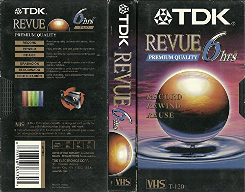 TDK Blank VHS TAPES: Premium Quality Revue (4 Pack) 6 hrs (T-120)