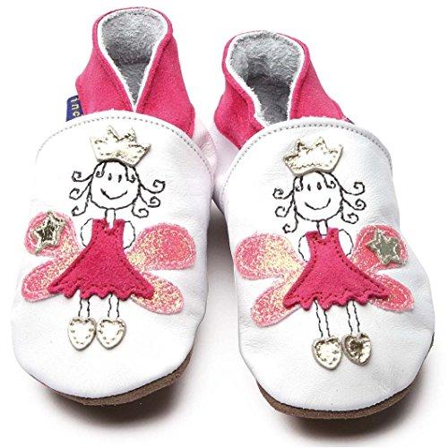 Zapatos Inch Blue de cuero blando blanco y rosa con princesa de cuento, 6-12 meses