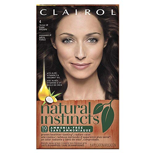 Clairol Natural Instincts Semi-Permanent Hair Color (Pack of 3), 4/28 Nutmeg Dark Brown Color, No Ammonia , Long Lasting for 28 Shampoos