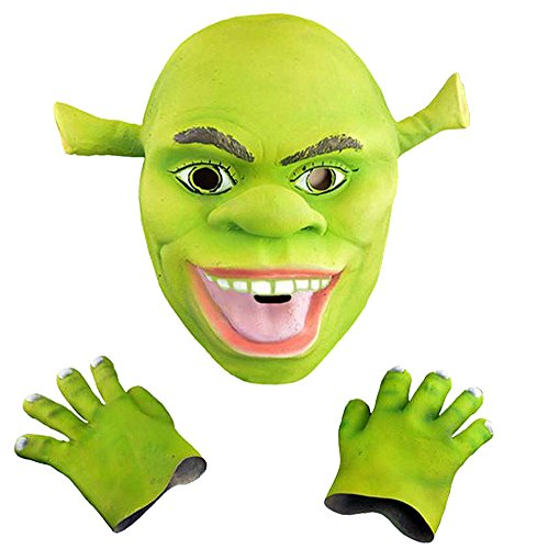 Shrek Latex (HLLWN Expresss, Shrek Head and Hooves, Halloween Latex Costume 2014 HLWMSK68)