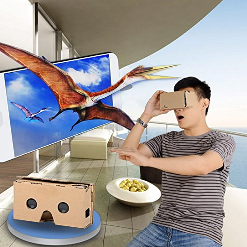 LightsCastle 2015 DIY Cardboard 2 Virtual Reality VR 3D Glasses for IPHONE 6 Plus More - Brown