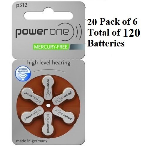 Power One Size 312 MERCURY FREE Hearing Aid Batteries (2Pack (60 Batteries))