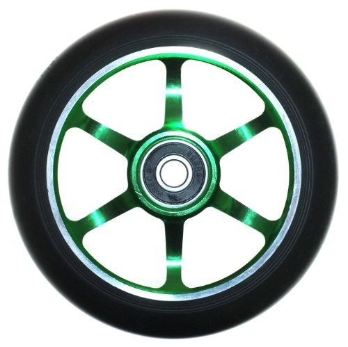 Ten Eighty 6 Spoke 110mm Stunt Scooter Wheel Ð Green Alloy Core & Black Tyre