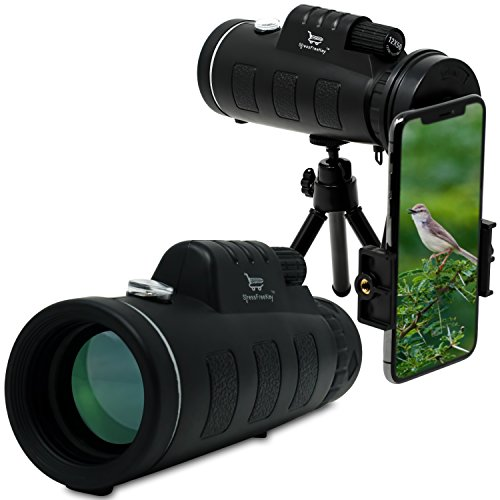 Monocular Telescope by Stress Free Key - 12x50 High Power Prism Scope With Quick Smartphone Mount Adapter and Tripod - for Hunting Sports Outdoors Wildlife Travel - Waterproof Fogproof Shockproof