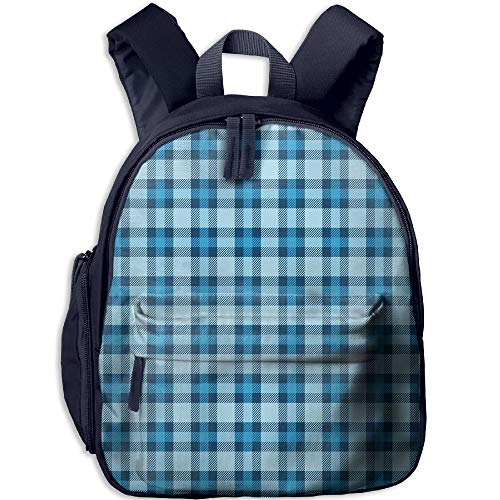 (Haixia Kids Boys'&Girls' Bookbag with Pocket Checkered Intersecting Stripes and Squares Picnic Themed Tile Pattern in Blue Colors Decorative Blue Light Blue)