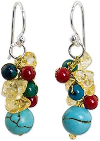 NOVICA Multi-Gem Blue - Calcite Silver Plated Beaded Hook Earrings 'Colorful Garden'