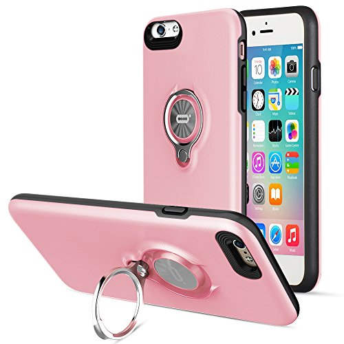(Compatible Phone case for iPhone 6 Plus Case with Ring Kickstand by ICONFLANG, 360 Degree Rotating Ring Grip Case for iPhone 6 Plus Dual Layer Shockproof Impact Protection iPhone 6+ Case (Pink))
