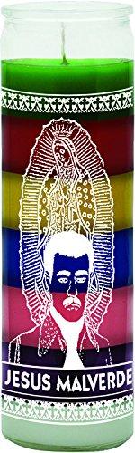 INDIO 7 Day 7 Color Glass Candle Jesus Malverde