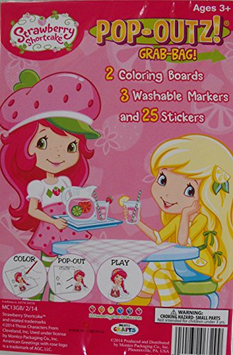 Mini Chipboard Set (Pop-outs Take N Play Grab Bag! Mini Set~ Strawberry Shortcake ~ Coloring Activity Boards ~ Markers ~ Stickers)