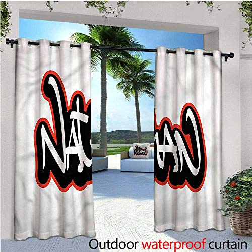 Thermal Nathan (warmfamily Nathan Outdoor Privacy Curtain for Pergola Boys Name Graffito Art Thermal Insulated Water Repellent Drape for Balcony W96 x L108)