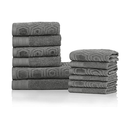 Superior's 100% Cotton 500 GSM, Plush, Absorbent, High Quality and Durable Honeycomb Jacquard and Solid 12-piece Towel Set- Gunmetal
