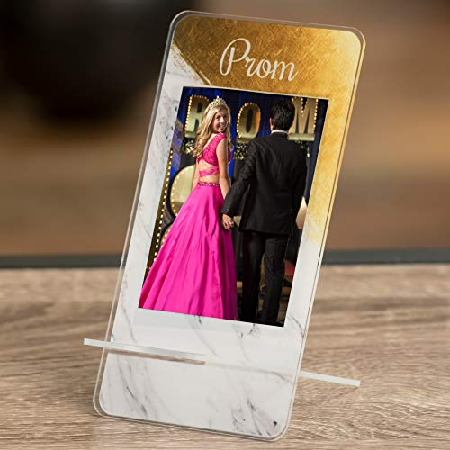 Prom Gold Brush Marble Phone Stand -