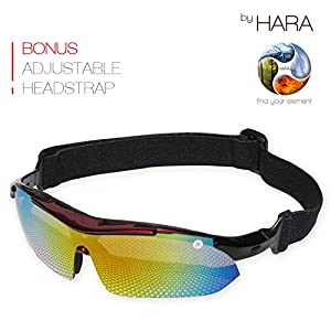 Sports Sunglasses for Men and Women with Large Faces – Professional Glasses with Polarized, Interchangeable Lenses for Cycling, Running and Driving