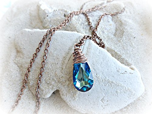 Swarovski Copper Pendant - Bermuda Blue Swarovski® Crystal pendant in copper wire wrapping, copper chain necklace. Handmade jewelry, jewellery. Fashion, Accessories.