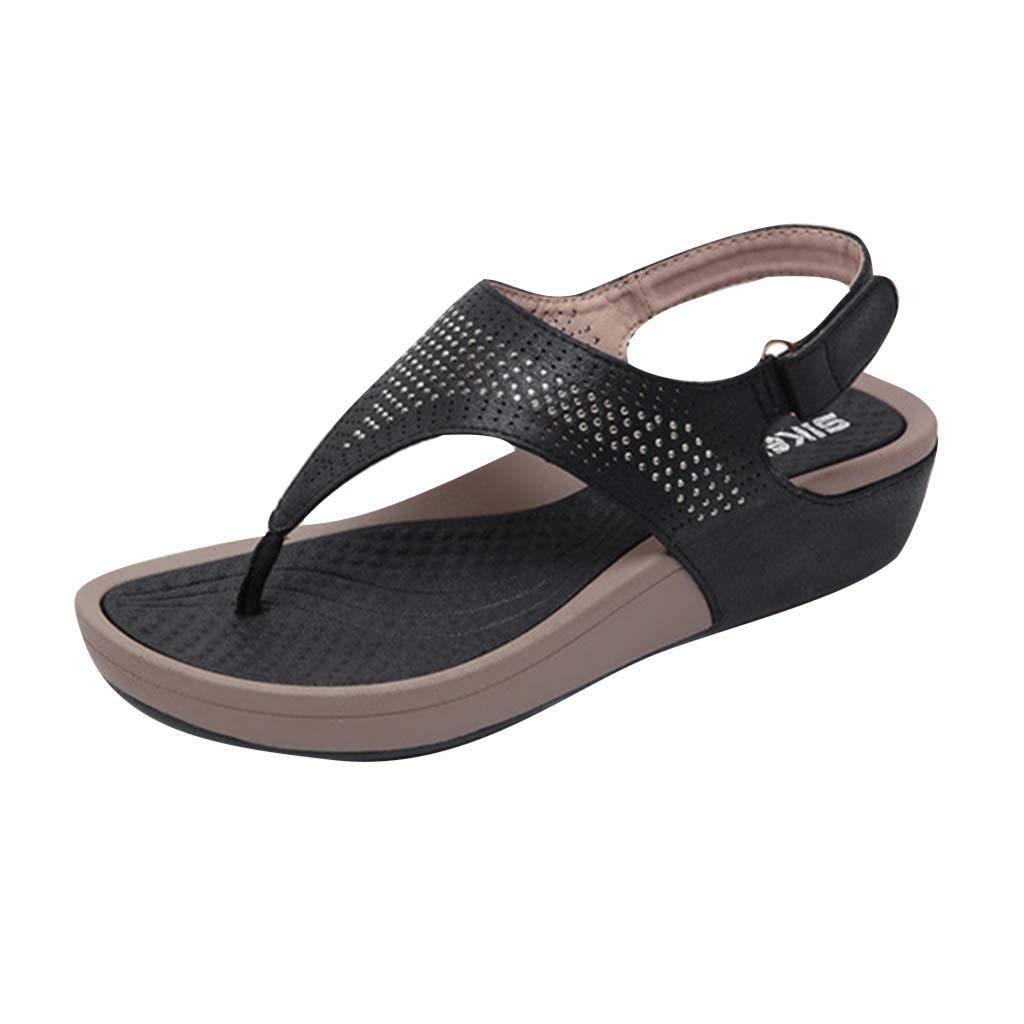LIM&Shop Women Flat Sandals Summer Beach Flip Flop Thong T-Strap Flat Rhinestone Beads Slipper BoheElastic Slip On Black