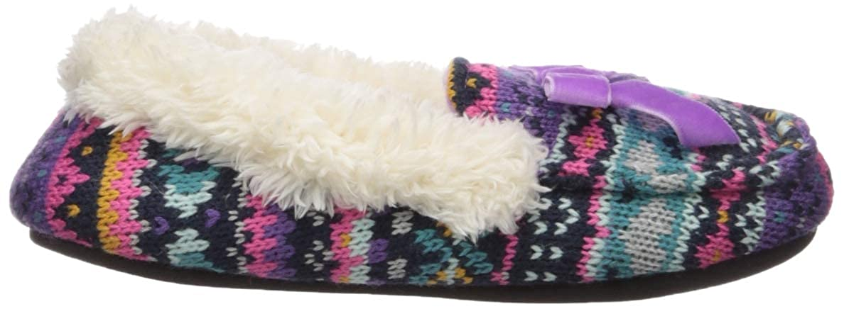 Dearfoams Kids Df Girls Sweater Knit Moccasin Slipper