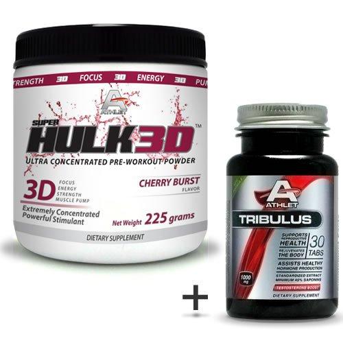 Athlet savoir Hulk3d pré-séance d'entraînement en poudre 225 gr de Cherry Burst-F ocus sans Tribulus