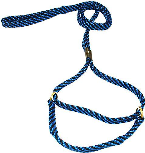 - Lone Wolf 5/8 x 6' Flat Braid Martingale Leash Black/Blue Spiral